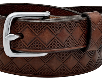 """Genuine Leather Diamond Embossed  1"""" belt in a Medium Brown color with Chrome Buckle. Handmade in the USA. (#3761)"""