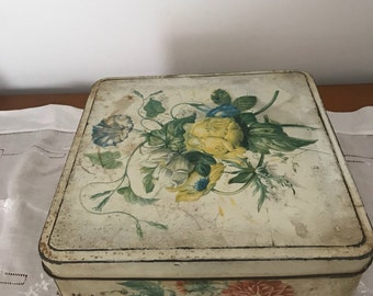 "floral "" huntley and palmers"" biscuit tin"