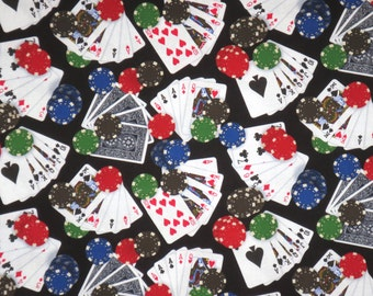 Playing Cards and Chips on Black Print Pure Cotton Fabric--By the Yard