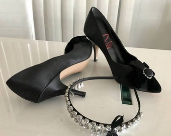 20percentoff Vintage Dolce by Pierre Black Satin Pumps with Velvet Bows and Rhinestones -- Size 8 US
