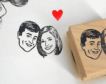 Personalized gift for couple wedding favors Custom Portraits invitations stamp / save the date stamp / valentine wedding bridesmaid her
