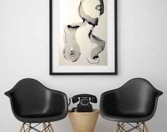 Abstract nude female figure  ---  22in x 30inWatercolor Figure painting