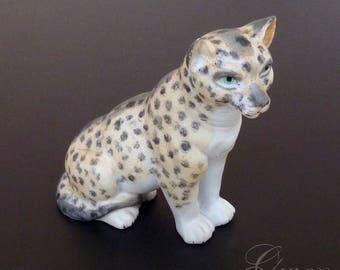 Rare Antique miniature German Leopard Bisque porcelain doll house animal pet figurine zoo