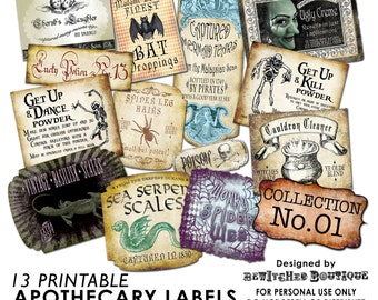 Apothecary Bottle Labels Jar Halloween printable paper art hobby crafting instant download digital collage sheet COLLECTION 1