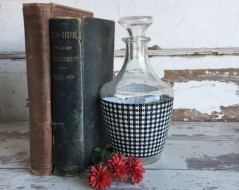 Vintage French Gingham Decanter Bottle with Stopper