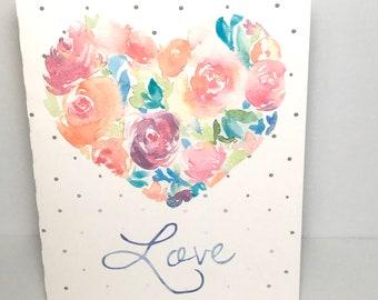 Watercolour Heart of Love Card , Blank inside , Spouse , Partner , Husband , Wife , Girlfriend , Boyfriend , Friend , floral