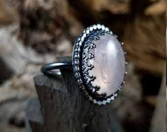 Rose Quartz Oxidized Sterling Silver Ring Size 7.5
