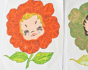 Vintage Hand Painted-Unpainted Quilt Square Block-Anthropomorphic Girl Flower-You Choose-Flower Block-100% Cotton-Crying-Flower with Face