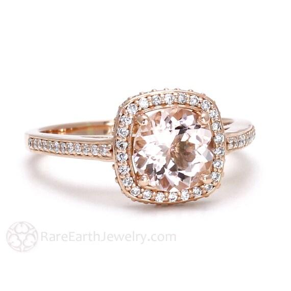 Préférence Morganite bague diamant Halo Morganite bague de fiançailles VD16