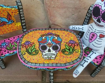 Superieur Sugar Skull, Mini Wood Table And Chairs, Sugar Skull Doll, Day Of The