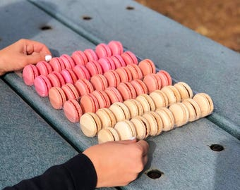 Pink Macarons Pack - Baby Shower - It's a Girl - French Cookies - Flavors Assortment - Gluten-Free - Dairy-Free