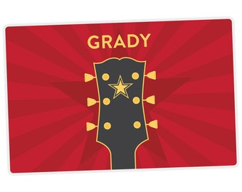 Guitar Placemat - Personalized Placemat for Kids - Childrens Placemat - Set The Table - Laminated Placemat