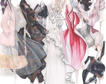Rodarte pop surrealism gothic fashion illustration art print