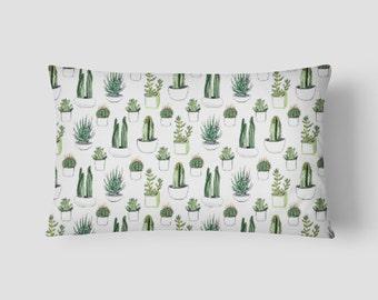 """Cacti and Succulents // Decorative Pillow Cover 12""""x18"""" // Lumbar Pillow // Rectangular Throw Pillow"""