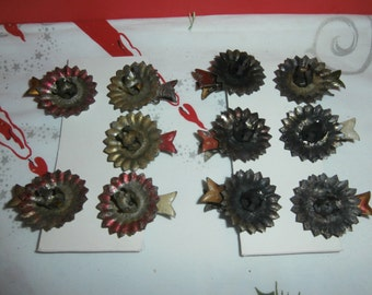 Vintage Germany Christmas tree metal colored clip on candle holders lot 11 fish back tin primitive decorations