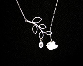 Cute Bird lariat Y Necklace Leaf branch and Initial Leaf in Silver - personalized jewelry, mom necklace, Mother's Day gift, for her, mom