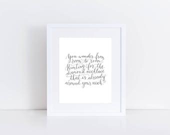 Rumi Quote Print / Inspirational Print / Calligraphy Print