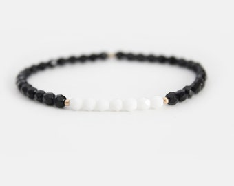 Jet Black and White Beaded Bracelet - Gold Filled or Sterling Silver - Naeva
