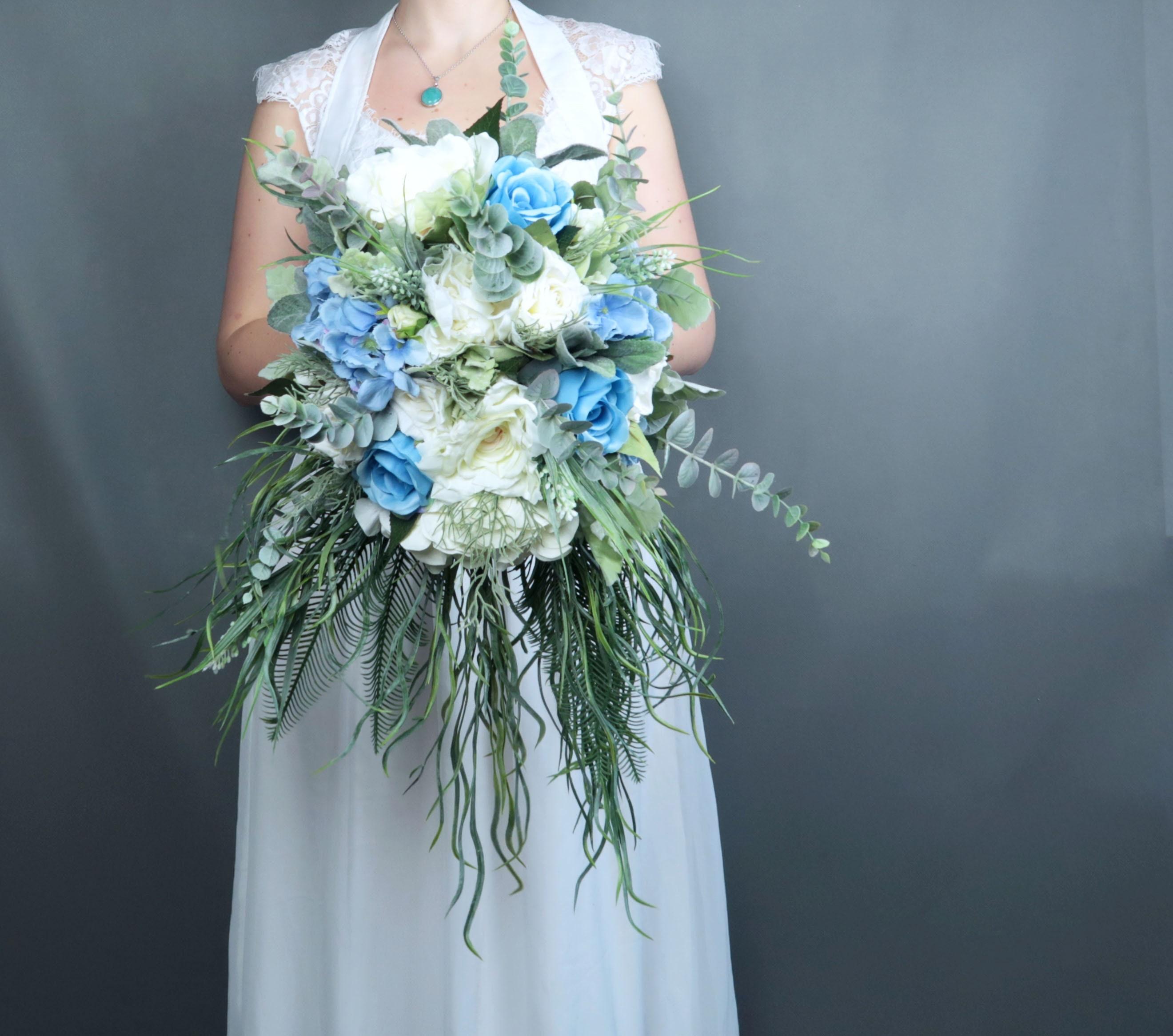 Cascading greenery pastel blue white ivory flowers bridal bouquet cascading greenery pastel blue white ivory flowers bridal bouquet best quality dusty miller roses hydrangea eucalyptus southwestern wedding mightylinksfo