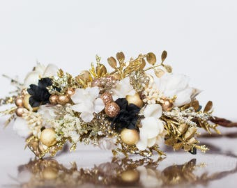 Floral Crown - Flower Halo in Ivory and Gold - Flowergirl hairpiece - Photo Prop - Wedding Crown - Floral Hairpiece -  New Years