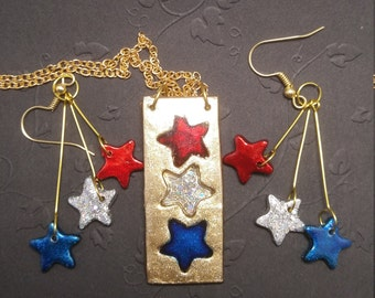 Red white and blue stars set