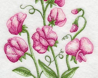 Sweet Pea Bouquet Embroidered Flour Sack Hand/Dish Towel