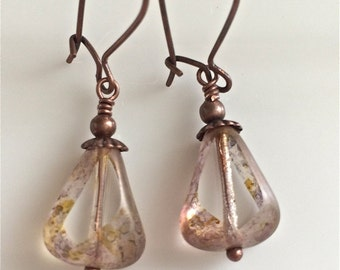 Clear Glass Earrings  Czech Glass Earrings  Bohemian Earrings   Copper Earrings  Boho Earrings  Gypsy Dangles