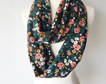 Black Floral Rifle Paper Co Floral Rayon Infinity Scarf - Handmade - For Her, Spring Fashion, Mother's Day, Summer