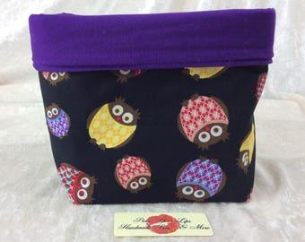 Handmade Fabric Basket Storage Bin Tall Owls