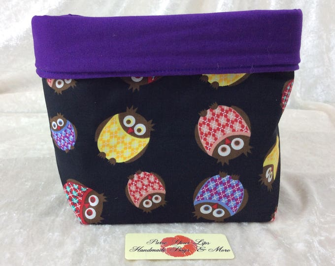Handmade Fabric Basket Storage Bin Tall Owls