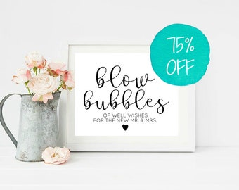 Bubbles Sign, Bubbles Wedding, Wedding Signs, Wedding Sign, Blow Bubbles, Well Wishes Sign, Printable Wedding, Rustic Wedding Sign, SALE