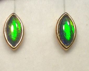 Opal Earrings Gold PlateTriplet 8x4 Navette item 6007.