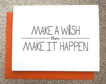 Make A Wish A2 Greeting Card, Typography Print, Motivation, Inspiring Cards, Pep Talk, Monochrome Art