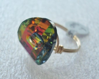 Swarovski Crystal Volcano Button Wire Wrapped Ring with Custom Options