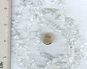 "Dazzling Genuine Clear Quartz Chip Beads Full 36"""