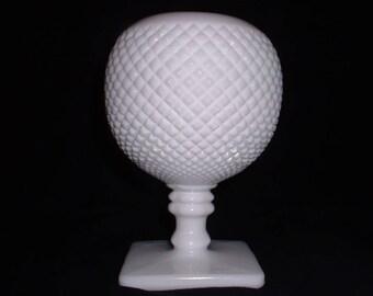 Westmoreland Milk Glass Ball Vase/English Hobnail Round Pedestal Vase/Vintage White Milk Glass English Hobnail Vase