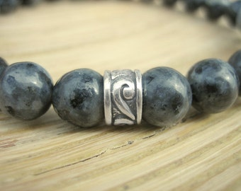 Mens Celtic Bracelet - Larvikite Bracelet for Men with Silver Celtic Band, Blue Grey Norwegian Stone for Intuition and Psychic Protection