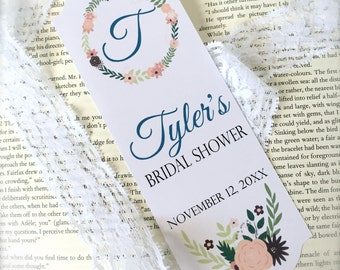Bridal shower bookmark favors, personalized bookmark, bridal shower favor, custom bookmark, flower book mark, custom favors - set of 20(bk1)