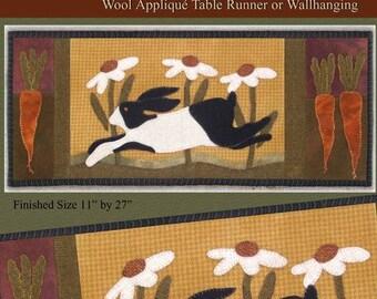 Rambling Rabbit Wool Applique Pattery by Crane Designs