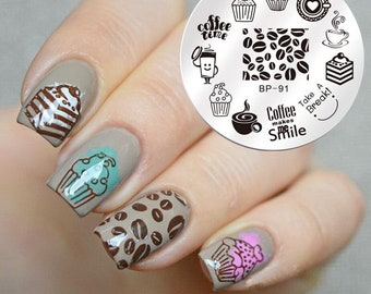 Nail Art Stamping Plates Image Plate Decoration Coffee Beans Hot Chocolate Tea Cupcakes  BORN PRETTY (BP91)