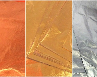 Metalic gold leaf paper , gold, copper, silver, 5 sheets , for gilding art, polymer clay,resin , nail art, canvas, scrapbooking,..