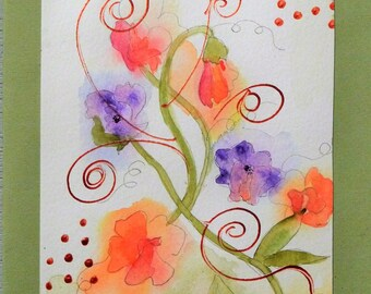 "Holiday card, greeting, birthday, thank you, ""sweet pea"""