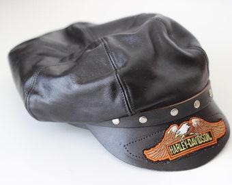 Vintage HARLEY DAVIDSON Black Leather Hat Biker Cap Silver Studs Rare Motorcycle 80s Eagle Logo Studded Metal Rock Punk Grunge Alternative