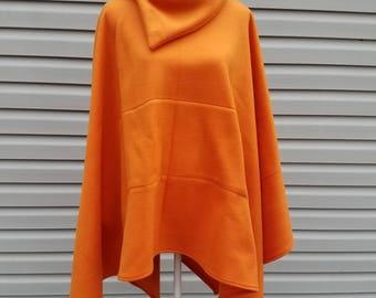 Burnt Orange Fleece Poncho