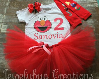 Elmo birthday tutu set / Elmo birthday outfit/ sesame street tutu outfit. Legwarmers sold separately