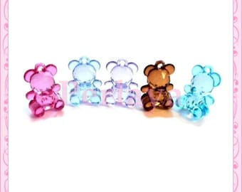 Mix of 5 teddy bears acrylic 20mm REF732 charms