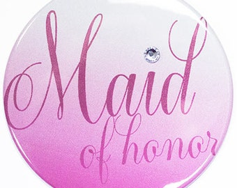 Large Size Maid of Honor Button - Bridal Party Buttons, Bachelorette Party Button, Bridal Shower Button, MOH