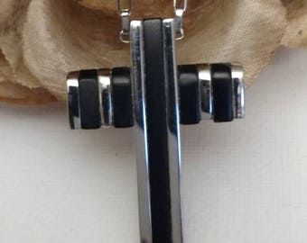 PASTOR APPRECIATION Biker Cross, Black and Silver Cross Necklace, High Quality, Unisex Jewelry, Durable Stainless Steel 316L, Gift Idea