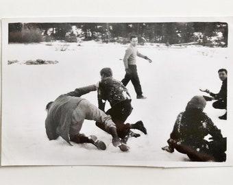 Original Vintage Photograph   Snowball Fight