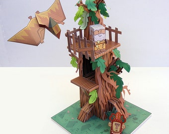 Dino MiniWorld paper toys - The tree House. Cut, assemble and play. Instant download.